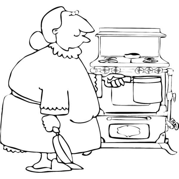 Disegno di Nonna in Cucina da colorare per bambini ...