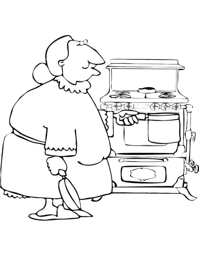 Disegno di nonna in cucina da colorare per bambini for Disegni da colorare cucina