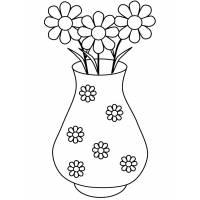 disegno di Vaso di Margherite da colorare