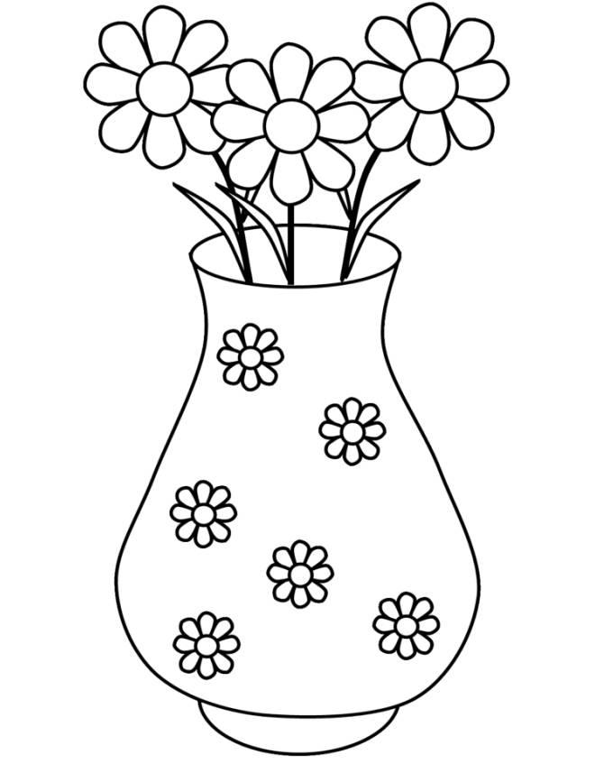 Disegno Di Vaso Di Margherite Da Colorare Per Bambini