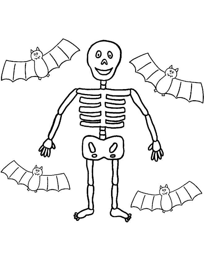 Stampa disegno di scheletro e pipistrelli da colorare - Pagina da colorare per halloween ...