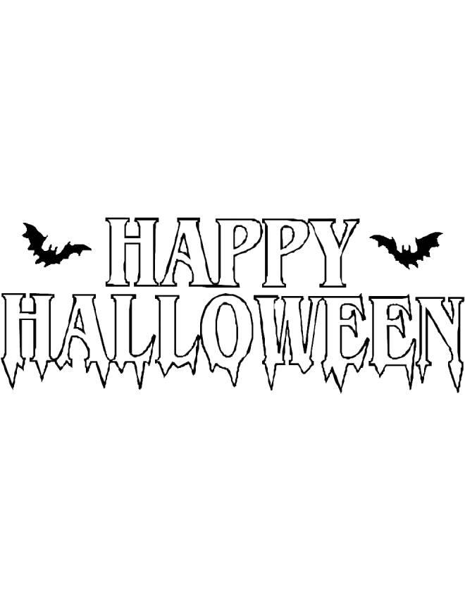 disegno di Scritta Happy Halloween da colorare