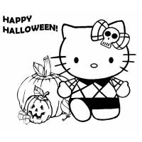 Disegno di Hello Kitty Happy Halloween da colorare