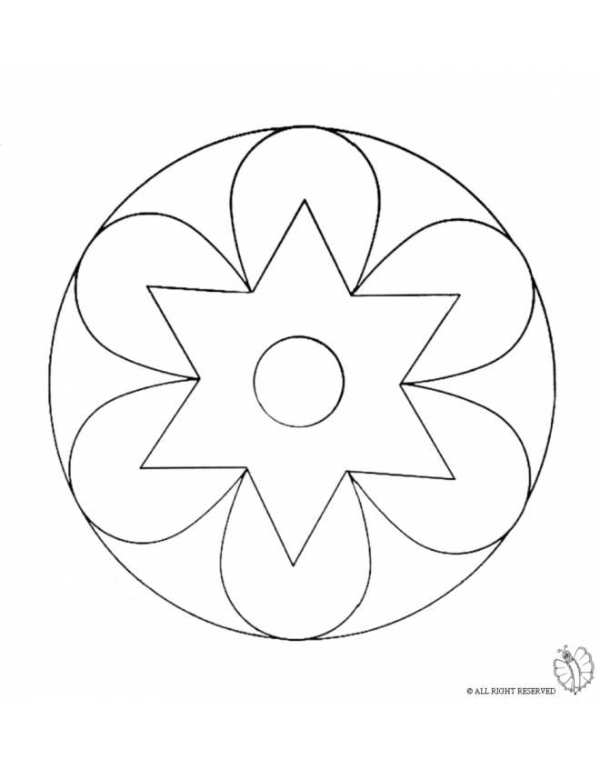 Disegno di mandala 2 da colorare per bambini for Disegni di mandala semplici