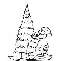 disegno di Addobbare l'Albero di Natale da colorare