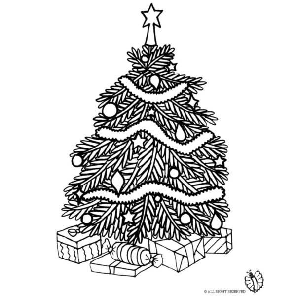 Disegno di Albero di Natale con Regali da colorare