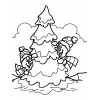 Disegno di Albero di Natale Innevato da colorare
