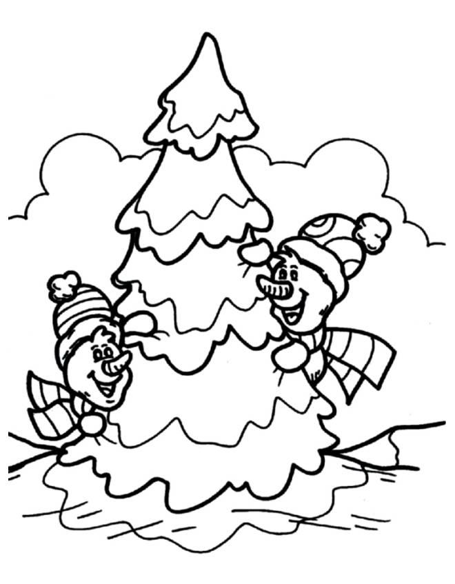 Disegno di albero di natale innevato da colorare per for Immagini natalizie da colorare