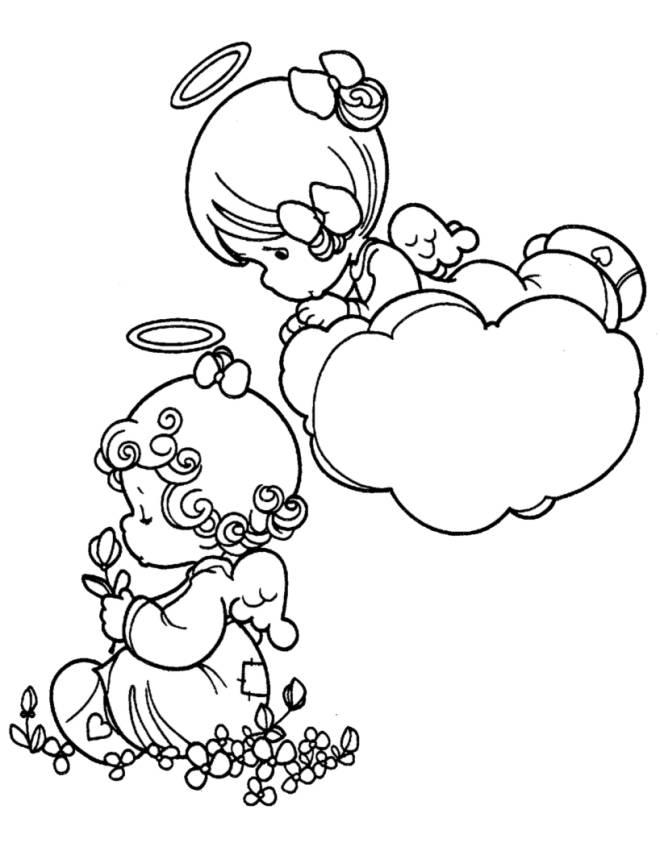 Disegno di angioletti da colorare per bambini for Angeli da stampare e colorare