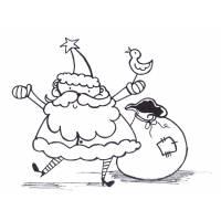 Disegno di Babbo Natale con Sacco da colorare