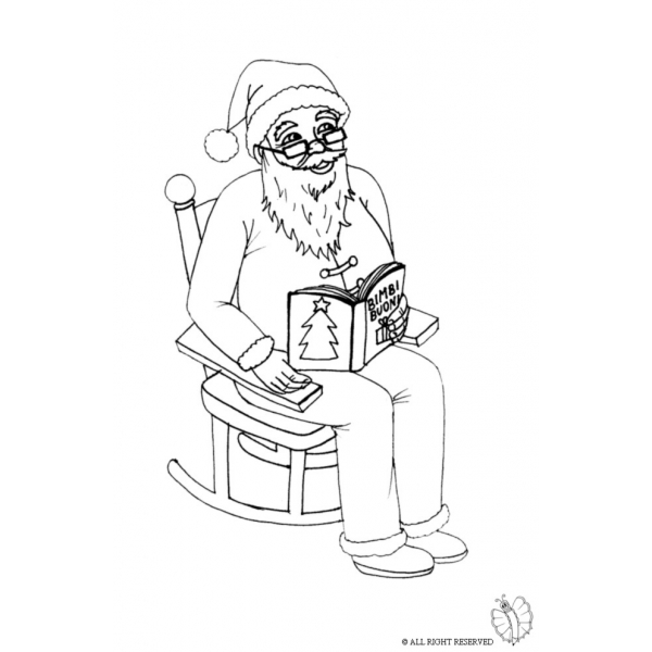 Disegno di Babbo Natale Sulla Sedia da colorare