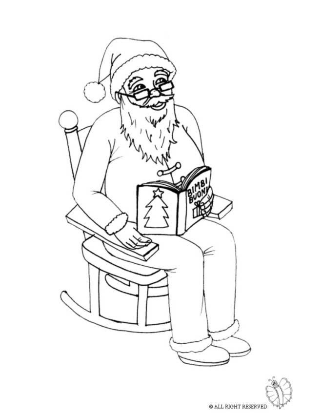 disegno di babbo natale sulla sedia da colorare per