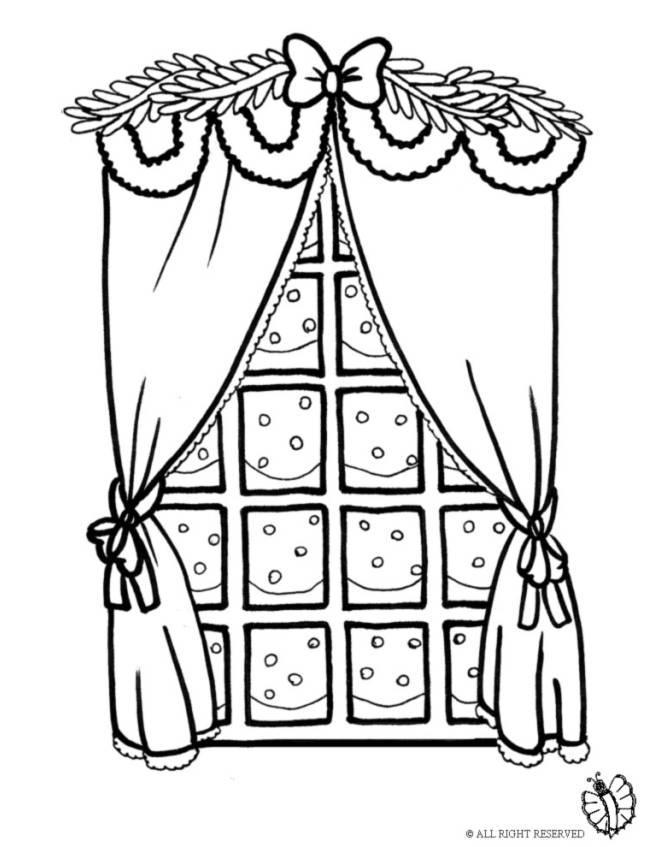 disegno di finestra con addobbi di natale da colorare per