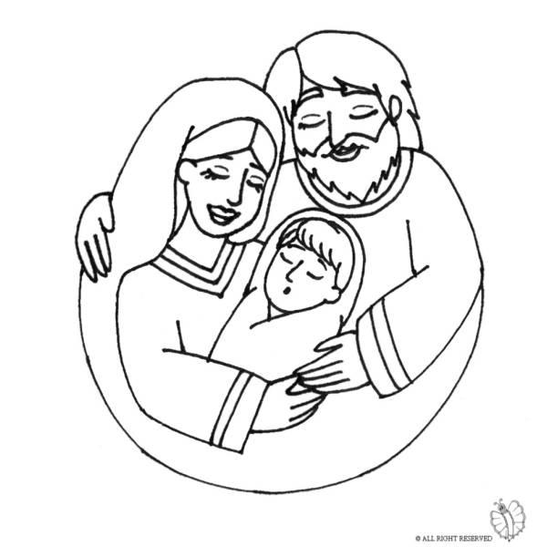 Disegno di Santa Famiglia da colorare