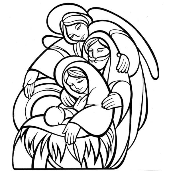 Disegno di la sacra famiglia da colorare per bambini for Colorare le rose