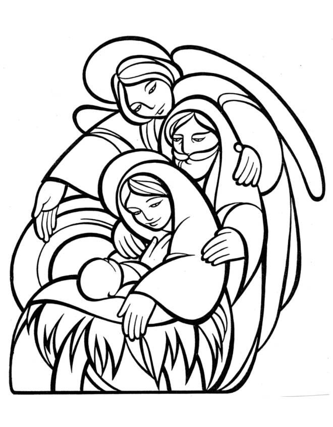 Stampa disegno di la sacra famiglia da colorare for Disegni angeli da colorare gratis