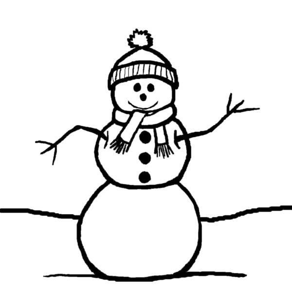 Disegno Di Il Pupazzzo Di Neve Da Colorare Per Bambini