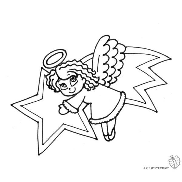 Disegno di Stella Cometa e Angioletto da colorare
