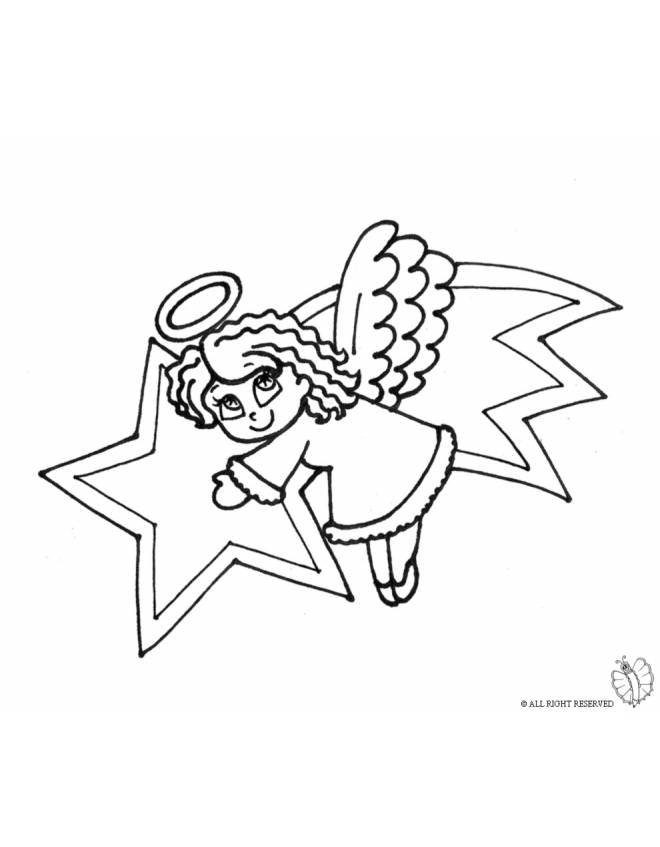 Stampa disegno di Stella Cometa e Angioletto da colorare