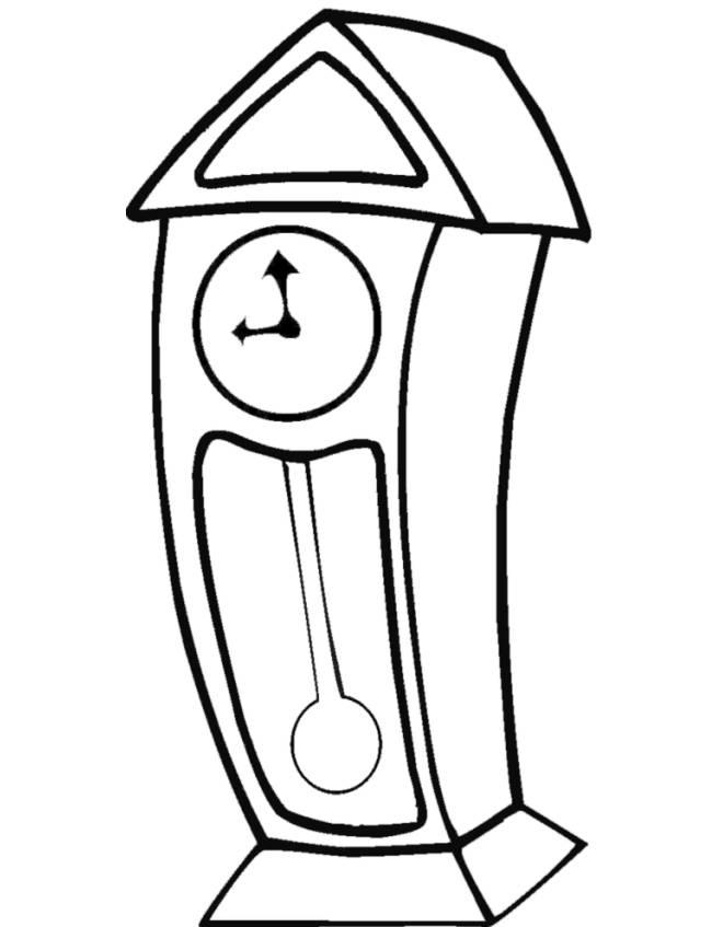 Disegno di orologio a pendolo da colorare per bambini for Immagini orologi da polso