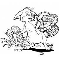 Disegno di Coniglio con Cesto di Pasqua da colorare
