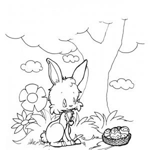 Disegno di Coniglio nel Bosco da colorare