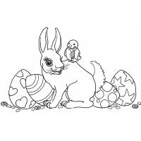 Disegno di Coniglio e Uccellino di Pasqua da colorare