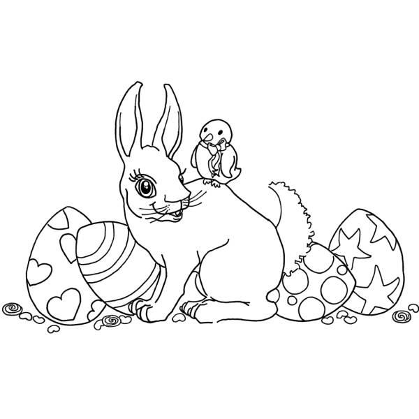 Disegno Di Coniglio E Uccellino Di Pasqua Da Colorare Per Bambini