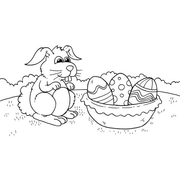 Disegno di Il Coniglio e le Uova da colorare