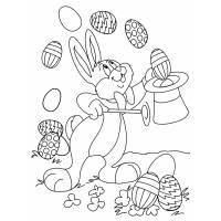 Disegno di Coniglio Mago di Pasqua da colorare