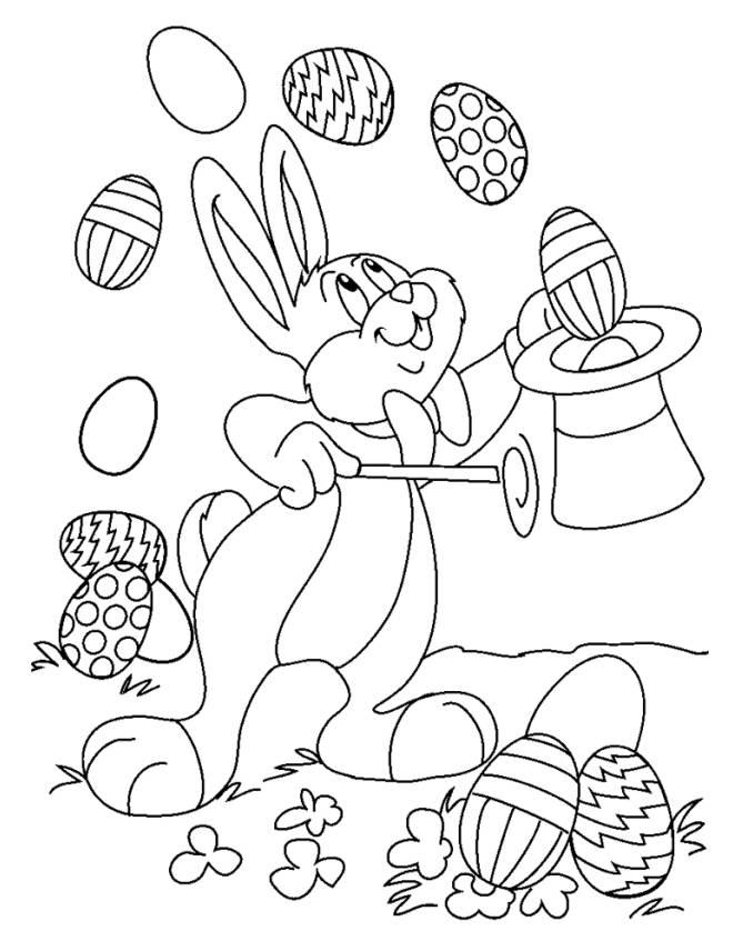 Stampa Disegno Di Coniglio Mago Di Pasqua Da Colorare