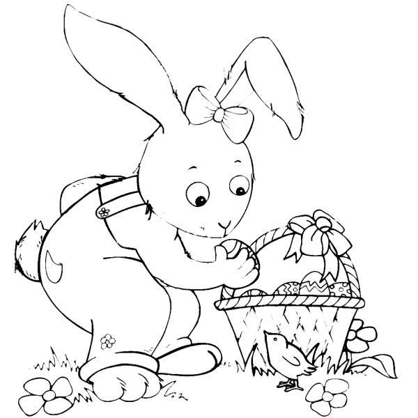 Disegno Di Coniglio Di Pasqua Con Pulcino Da Colorare Per Bambini