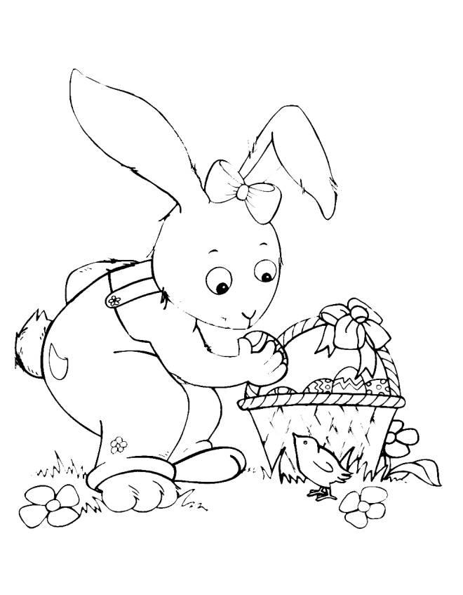 Disegno di coniglio di pasqua con pulcino da colorare per for Disegno coniglio per bambini
