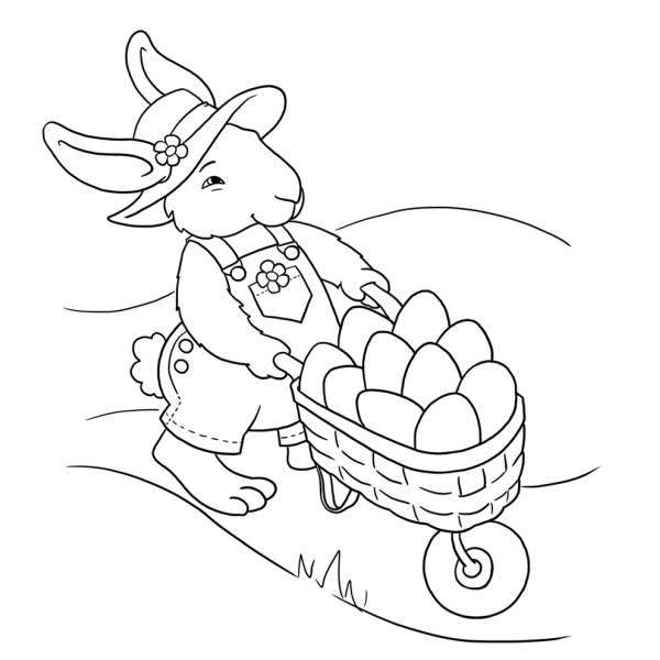Disegno di Coniglio con Uova di Pasqua da colorare