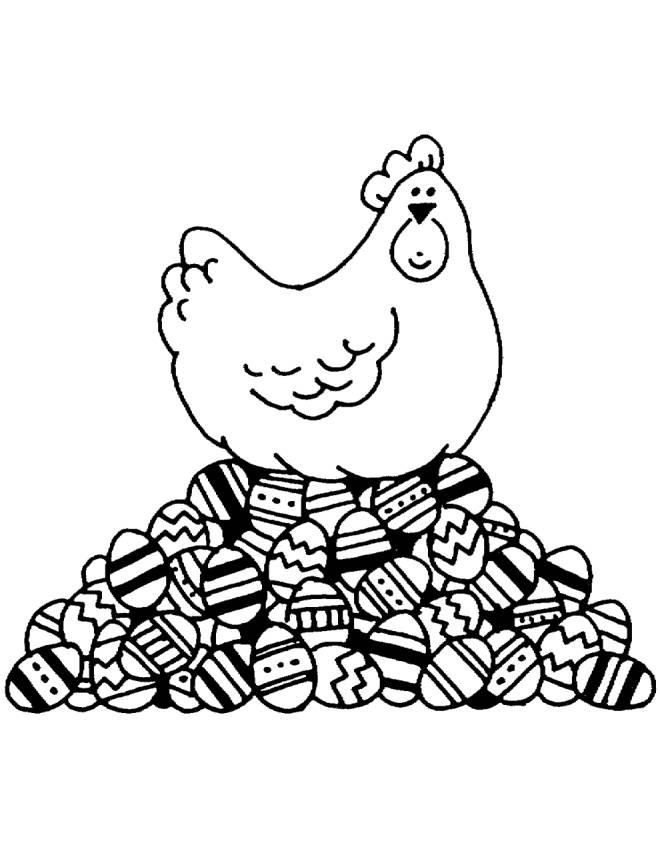 Disegno di la gallina pasqua da colorare per bambini