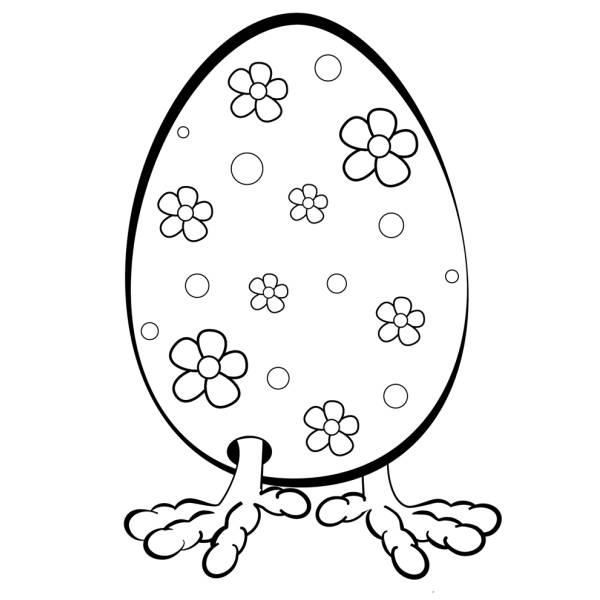 Disegno Di Uovo Con Le Zampe Da Colorare Per Bambini