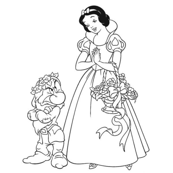 Disegno di Biancaneve da colorare