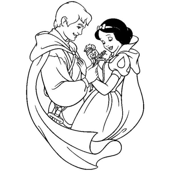 Disegno Di Biancaneve E Il Principe Azzurro Da Colorare Per
