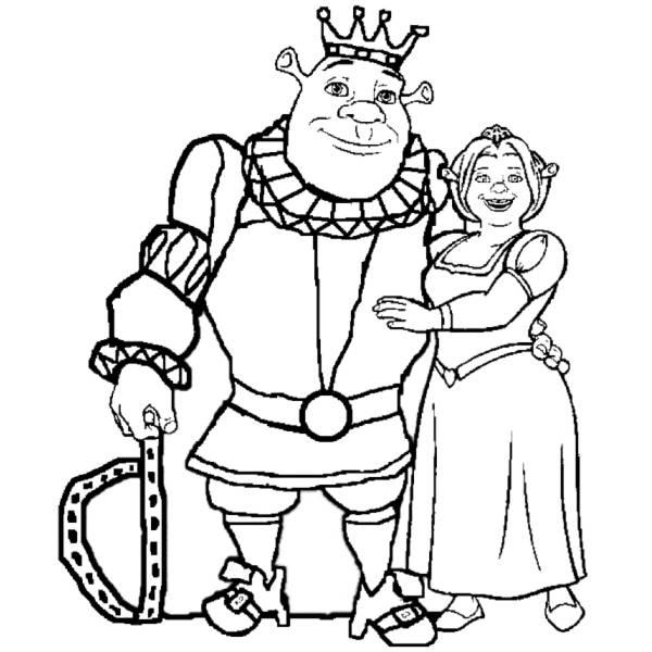 Disegno Di Re Shrek E Regina Fiona Da Colorare Per Bambini