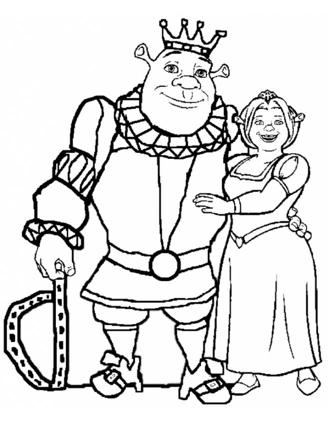 disegno di Re Shrek e Regina Fiona da colorare