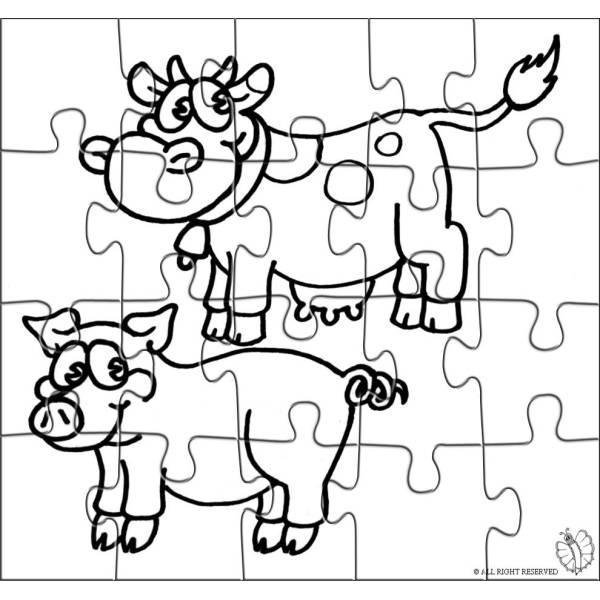 Disegno Di Puzzle Di Animali Della Fattoria Da Colorare