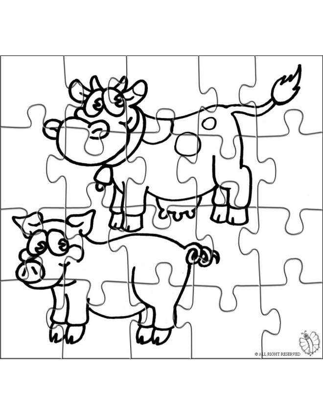 Stampa disegno di puzzle di animali della fattoria da colorare for Piani di riproduzione della fattoria