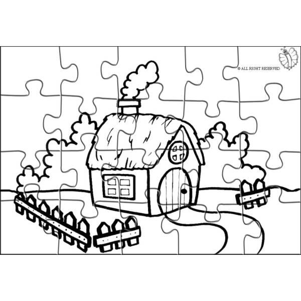 Disegno di puzzle fattoria da colorare per bambini