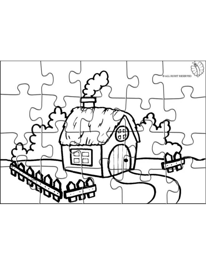 Stampa disegno di puzzle di fattoria da colorare for Disegni di casa in stile fattoria