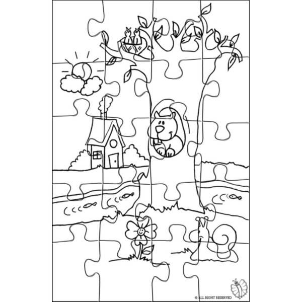 Disegno di Puzzle di Paesaggio Naturale da colorare