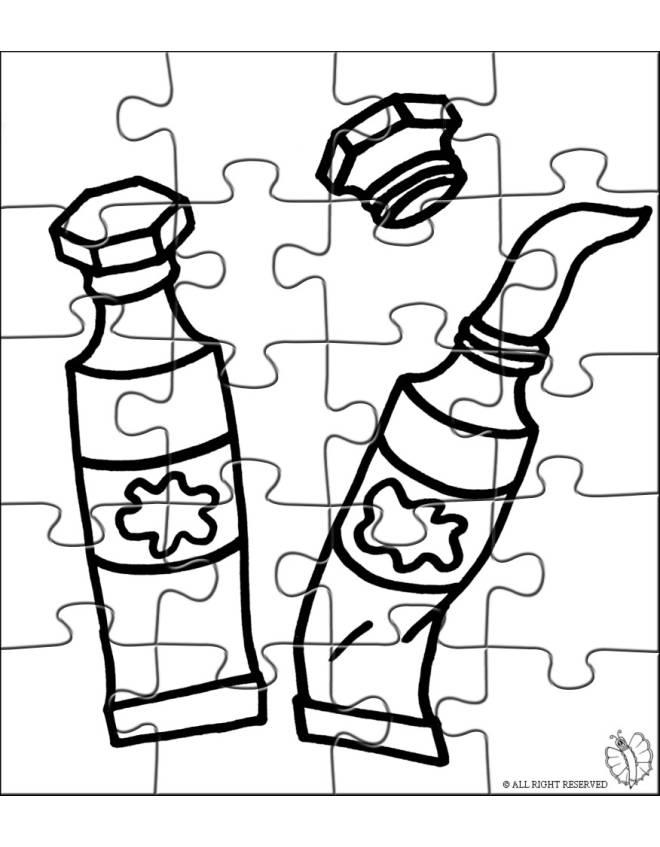 Disegno di puzzle di tempere da colorare per bambini for Disegni di lupi da stampare