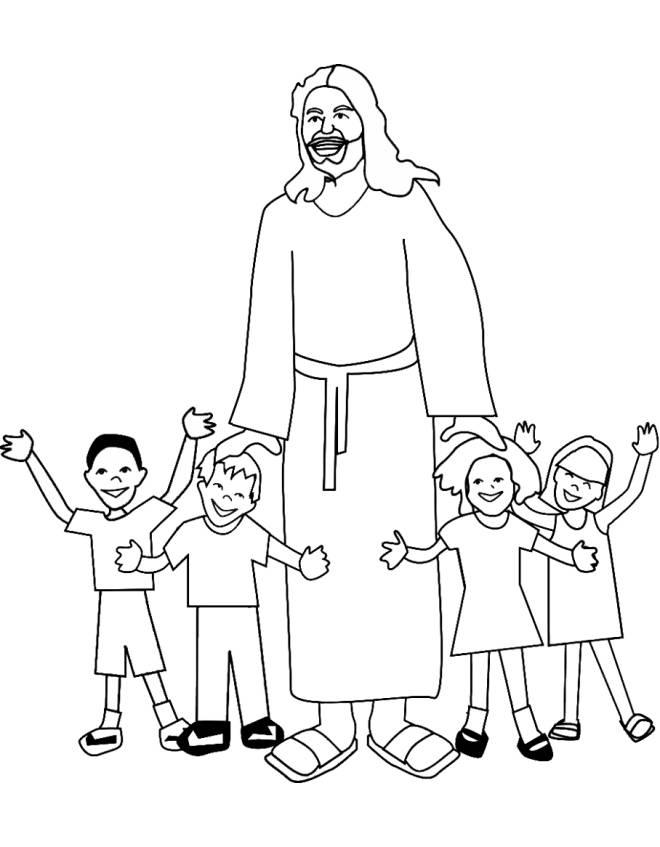 Stampa disegno di ges con i bambini da colorare for Disegni di angeli da colorare per bambini