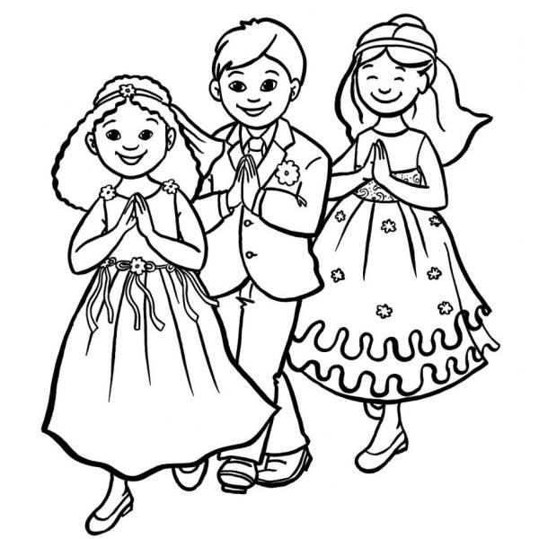 Disegno di Prima Comunione da colorare