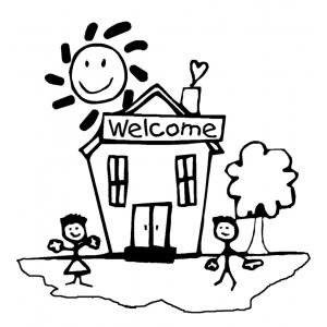 Disegno di Benvenuti a Scuola da colorare