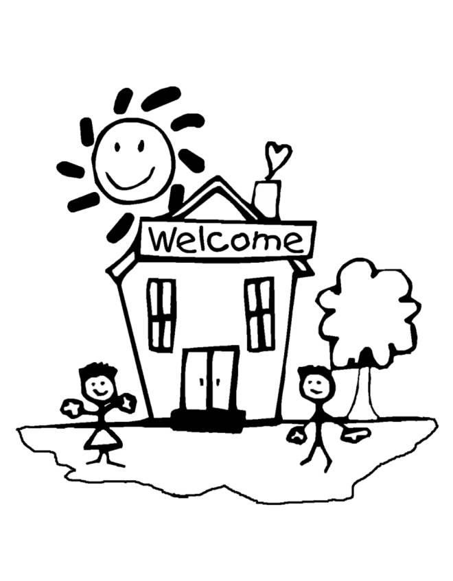 Disegno di benvenuti a scuola da colorare per bambini - Indietro a scuola foglio da colorare ...